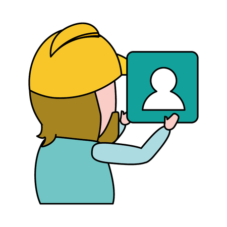 worker with contact application mobile development vector illustration