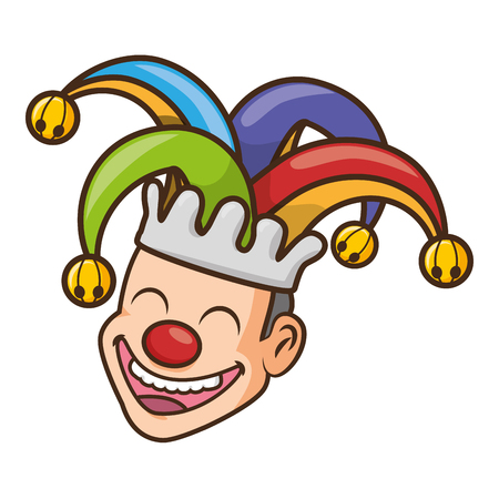 jester face with hat april fools day vector illustration Ilustração