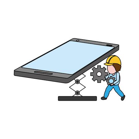 worker install setting mobile app development vector illustration Stock Vector - 125214120