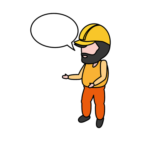 worker with hardhat and speech bubble vector illustration Иллюстрация