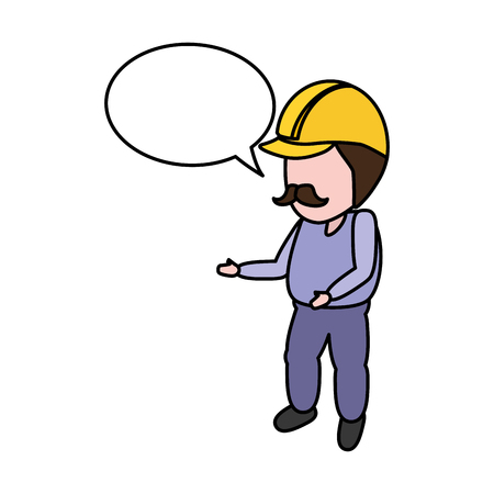worker with hardhat and speech bubble vector illustration Vectores