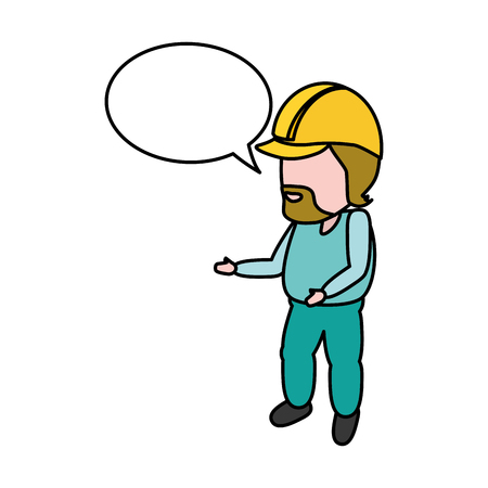 worker with hardhat and speech bubble vector illustration Stock Illustratie