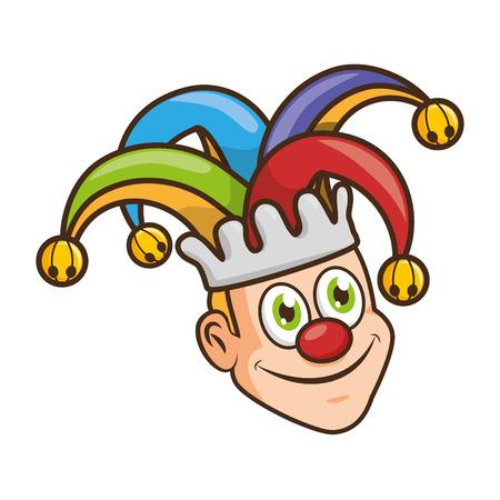 Visage de bouffon avec chapeau poisson d'avril vector illustration