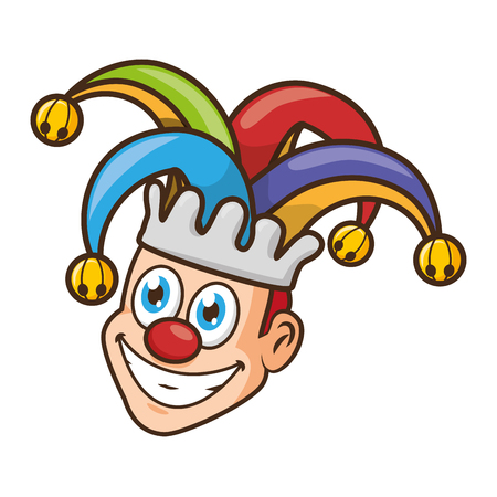 jester face with hat april fools day vector illustration