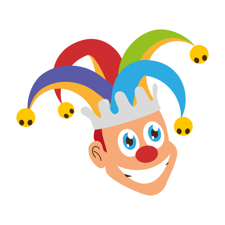 jester face with hat april fools day vector illustration Vecteurs