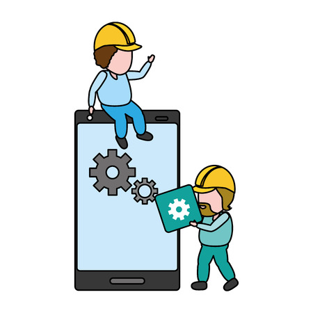 workers with app button mobile development vector illustration