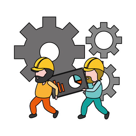 workers with gears function app mobile development vector illustration
