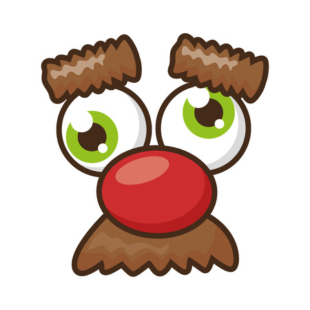 funny face nose eyebrows april fools day vector illustration  イラスト・ベクター素材