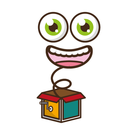 funny face in the box prank april fools day vector illustration Иллюстрация