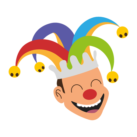 jester face with hat april fools day vector illustration Иллюстрация