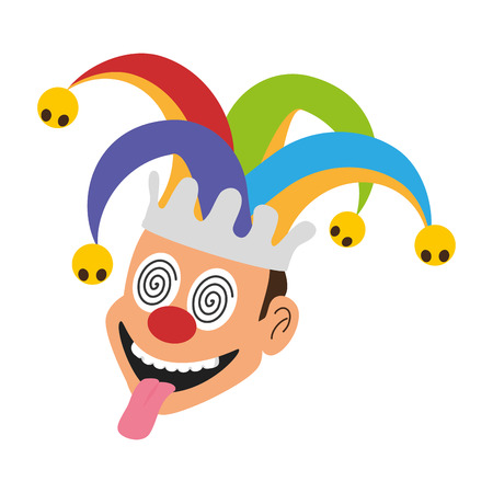 jester face with hat april fools day vector illustration Illustration