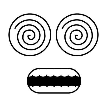 funny face crazy eyes on white background vector illustration 일러스트