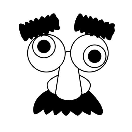funny mask glasses nose mustache vector illustration Иллюстрация