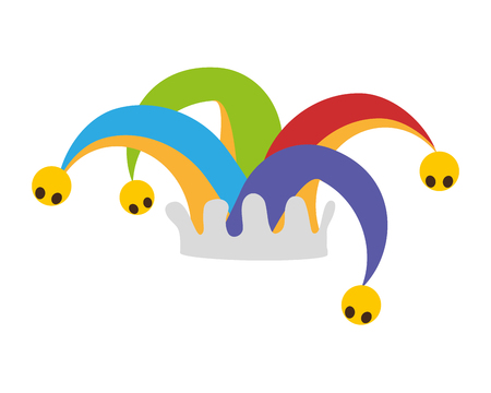 colored jester hat on white background vector illustration 일러스트