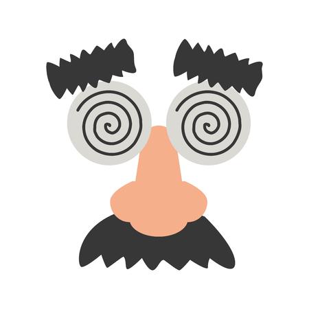 funny mask glasses nose mustache vector illustration Ilustração
