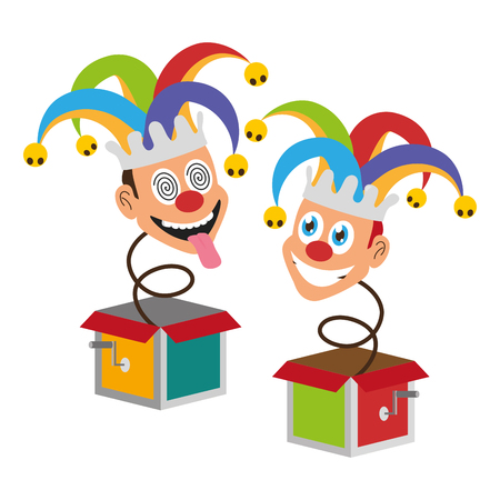jokers in the box april fools day vector illustration