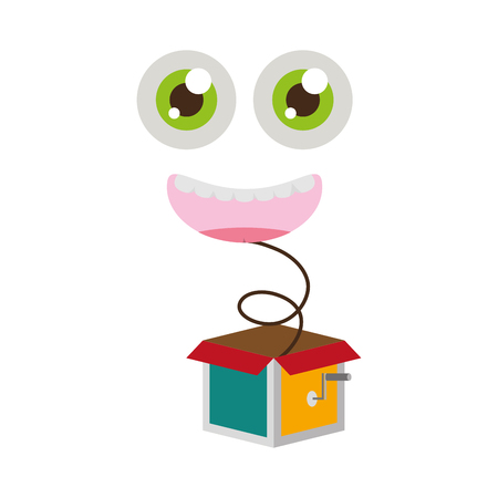 funny face in the box prank april fools day vector illustration Ilustração