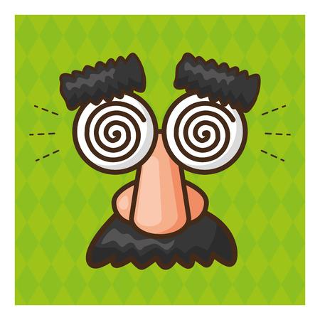 funny glasses mustache april fools day vector illustration