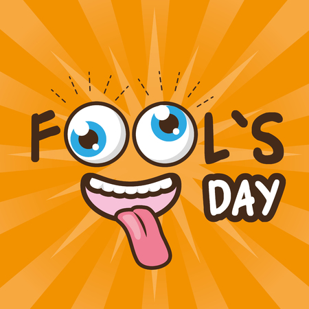 cheerful face april fools day vector illustration Иллюстрация
