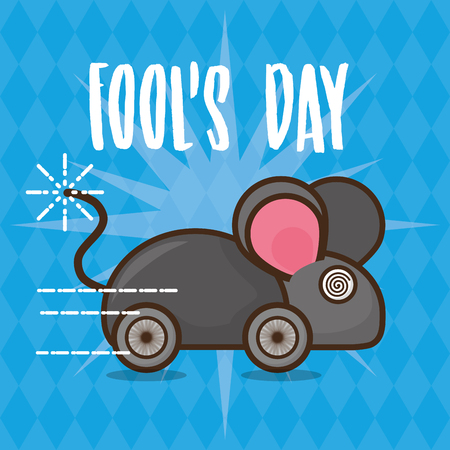 prank mouse april fools day vector illustration