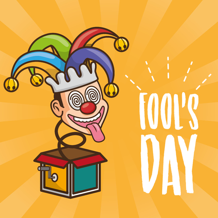 jester with tongue out in the box fools day vector illustration Çizim