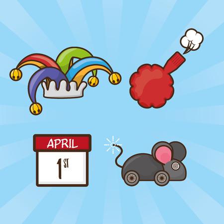 elements pranks april fools day vector illustration