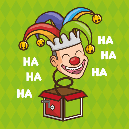 happy face jester in the box april fools day vector illustration