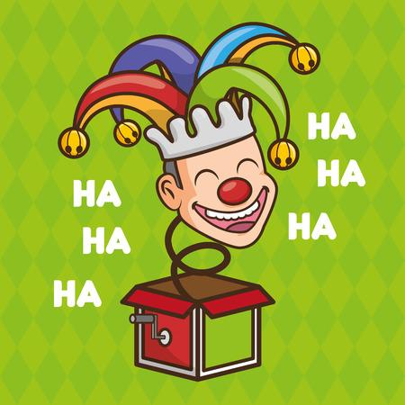 Visage heureux bouffon dans la boîte poisson d'avril vector illustration