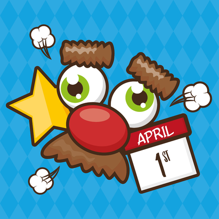 crazy mask mustache calendar april fools day vector illustration