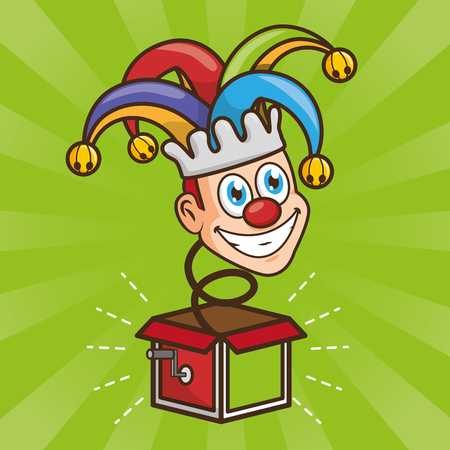jester coming out in the box on april fools day vector illustration