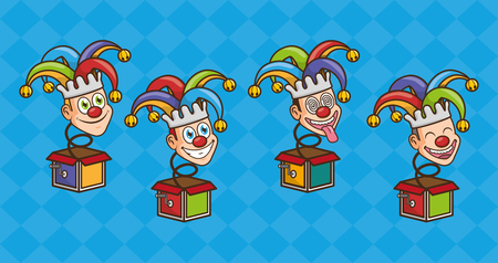 set of jester in the box pranks april fools day vector illustration