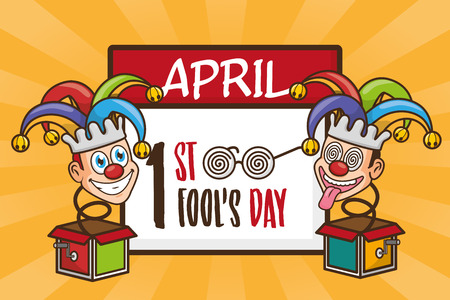 jack in the boxes calendar april fools day vector illustration