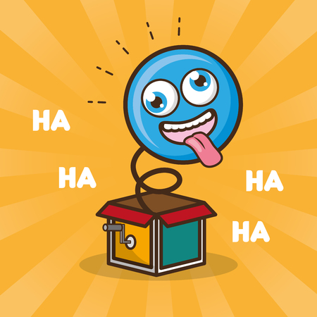 emoticon in the box prank april fools day vector illustration