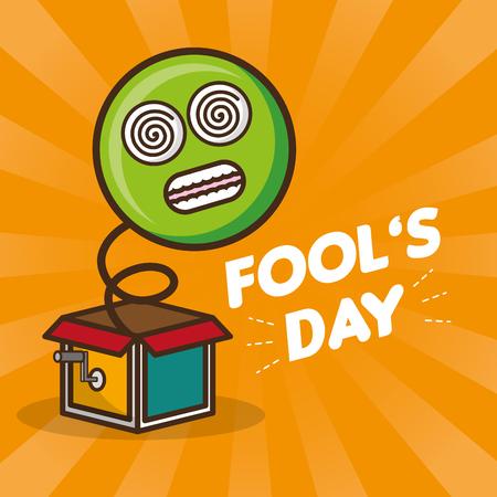 emoticon in the box prank april fools day vector illustration