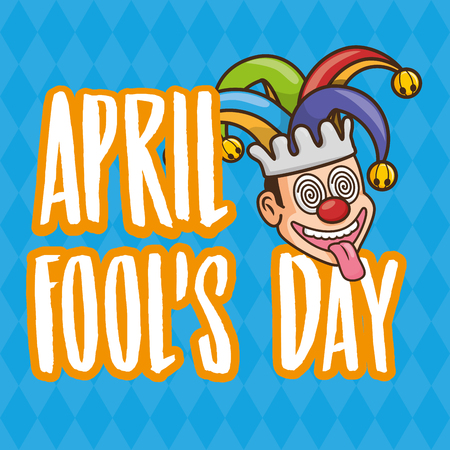 lettering face jester april fools day vector illustration