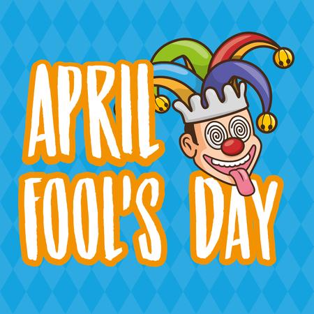lettering face jester april fools day vector illustration