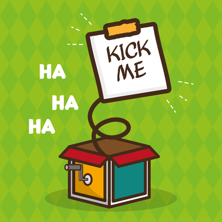 kick me note in the box april fools day vector illustration