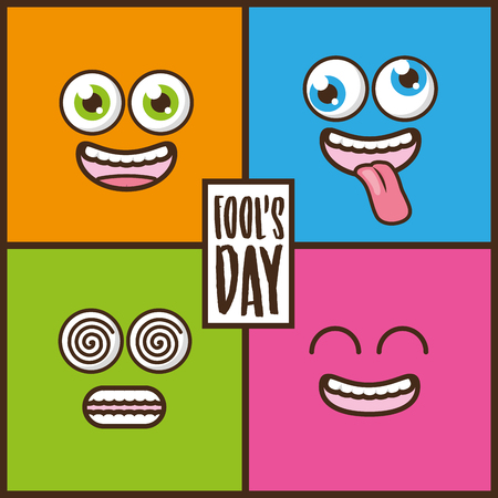 set of funny faces april fools day vector illustration