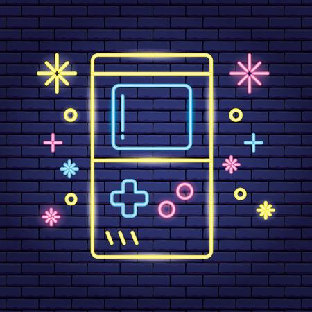 video game neon portable console vector illustration Ilustração