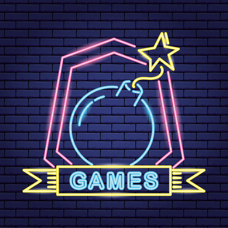 ribbon video game neon boom vector illustration