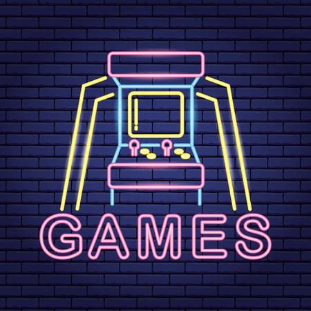 jeux vidéo d'arcade fond néon illustration vectorielle