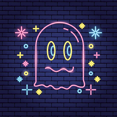cute ghost video game neon symbols background vector illustration