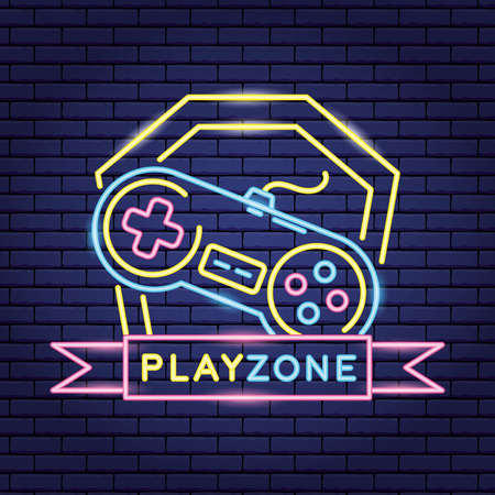 play zone console video game neon vector illustration