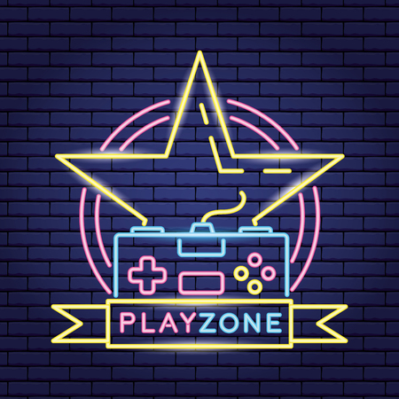 video game neon star console play zone vector illustration
