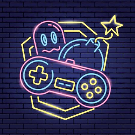 Consola bomba fantasma videojuego neón ilustración vectorial