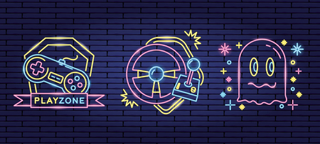 play zone ghost console video game neon vectorr illustration