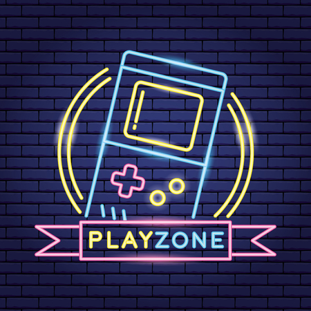 video game neon play zone console vector illustration Ilustracja