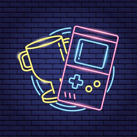 trophy console video game neon vector illustration Illustration