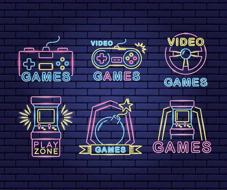 ensemble d'icônes illustration vectorielle de néon de jeu vidéo