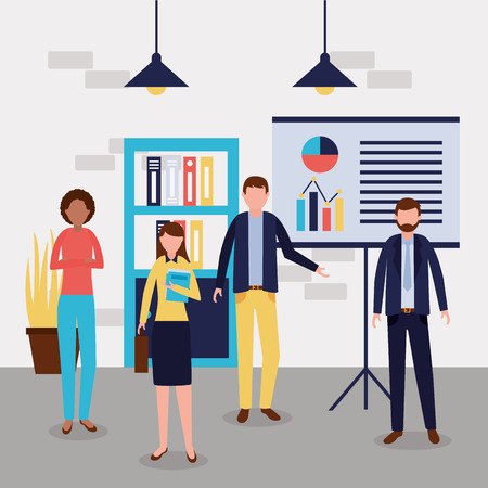 business people office working statistics vector illustration